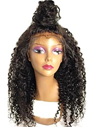 cheap -Remy Human Hair Lace Front Wig Brazilian Hair / Kinky Curly Curly Wig Layered Haircut 130% With Baby Hair / For Black Women Black Women's Short / Long / Mid Length Human Hair Lace Wig
