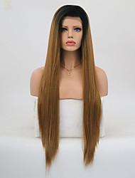 billige -Syntetisk Lace Front Parykker Lige Frisure i lag Syntetisk hår Natural Hairline Brun Paryk Dame Lang Blonde Front Medium Brun /  Jordbær Blond / Ja
