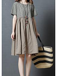 お買い得  -女性用 シフト ドレス ソリッド 膝丈