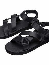 cheap -Men's Shoes Fabric Summer Comfort Sandals Black / Brown / Blue