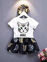 baratos -Infantil Para Meninas Gato Estampado Manga Curta Conjunto