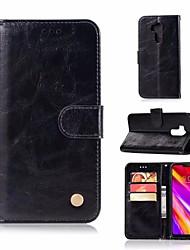 Недорогие -Кейс для Назначение LG G7 Кошелек / Бумажник для карт / со стендом Чехол Однотонный Твердый Кожа PU для LG K7