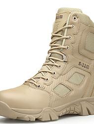 baratos -Homens Sapatos Confortáveis Tule / Couro Ecológico Outono Botas Aventura / Caminhada Botas Curtas / Ankle Preto / Khaki