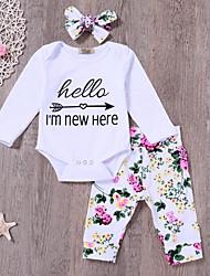 abordables -bébé Fille Actif Quotidien Imprimé Manches Longues Longue Coton / Polyester Ensemble de Vêtements Blanc / Bébé