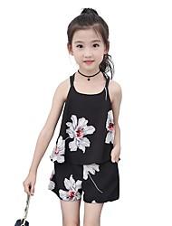 economico -Bambino / Bambino (1-4 anni) Da ragazza Attivo Per eventi Foglia tropicale Jacquard Con stampe Manica corta Corto Completo