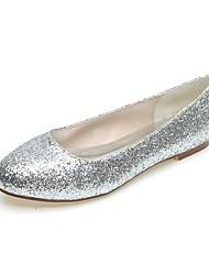 preiswerte -Damen Schuhe Paillette Frühling Sommer Ballerina Flache Schuhe Flacher Absatz Runde Zehe Glitter Gold / Silber / Hochzeit