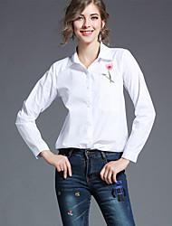 baratos -Mulheres Camisa Social Negócio / Moda de Rua Bordado, Floral