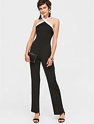 abordables -Femme Sophistiqué Coton Combinaison-pantalon Couleur Pleine Licou