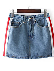 cheap -Women's Basic Cotton / Spandex Mini Bodycon Skirts - Color Block Patchwork