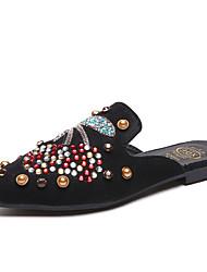Недорогие -Жен. Обувь Полиуретан Лето Удобная обувь Башмаки и босоножки Для прогулок На плоской подошве Заостренный носок Стразы / Лак Черный / Хаки
