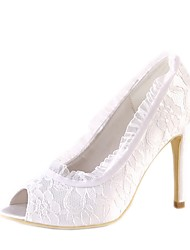 cheap -Women's Shoes Lace / Satin Spring & Summer Basic Pump Wedding Shoes Stiletto Heel Peep Toe Stitching Lace White