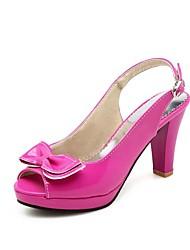baratos -Mulheres Courino Verão Plataforma Básica Sandálias Salto Robusto Peep Toe Laço Fúcsia / Azul / Rosa claro / Estampa Colorida