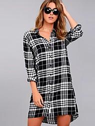 Недорогие -Жен. Рубашка Уличный стиль Контрастных цветов / Шахматка Черное и белое