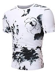 Недорогие -Муж. Футболка Классический / Шинуазери (китайский стиль) Цветочный принт Черное и белое