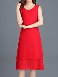 baratos -Mulheres Moda de Rua / Sofisticado Bainha / Chifon Vestido Sólido Médio