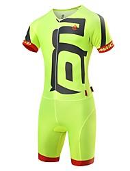 economico -Malciklo Per uomo Tuta da triathlon - Bianco / Nero / Verde / giallo Bicicletta Set di vestiti, Pad 3D, Asciugatura rapida, Design anatomico, Resistente ai raggi UV, Strisce riflettenti Elastene