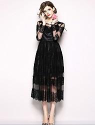 baratos -Mulheres Vintage balanço Vestido - Renda, Sólido Médio
