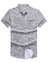 cheap -men's shirt - floral / solid colored shirt collar