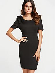cheap -Women's Slim Bodycon Dress - Solid Color Blue, Ruffle