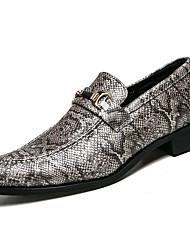 Недорогие -Муж. Печать Оксфорд Наппа Leather Весна / Лето Удобная обувь Туфли на шнуровке Черный / Серый