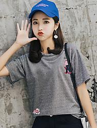billige -Dame - Ensfarvet Trykt mønster Basale T-shirt
