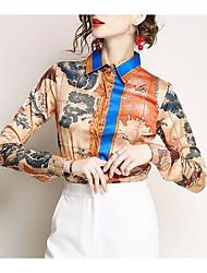 Недорогие -Жен. Повседневные / Офис Рубашка Рубашечный воротник Контрастных цветов