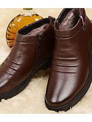 cheap -Men's Leather Winter Comfort / Fur Lining Boots Booties / Ankle Boots Coffee