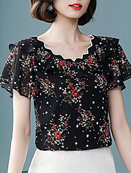 cheap -Women's Basic Plus Size Blouse - Floral Print V Neck / Summer