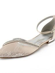Недорогие -Жен. Обувь Кружева Лето Удобная обувь / Балетки / Туфли д'Орсе Свадебная обувь На плоской подошве Заостренный носок Стразы / Лак
