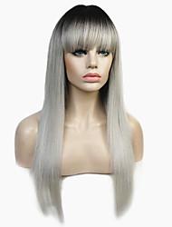 baratos -Perucas sintéticas Mulheres Liso Âmbar Corte em Camadas Cabelo Sintético 100% cabelo kanekalon Âmbar Peruca Longo Sem Touca Prateado StrongBeauty