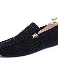 baratos -Homens Sapatos de Condução Lona Verão Mocassins e Slip-Ons Preto