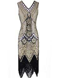 abordables -Gatsby le magnifique Gatsby Années 20 Costume Femme Robes Noir Doré Vintage Cosplay Mousseline de soie Organza Sans Manches