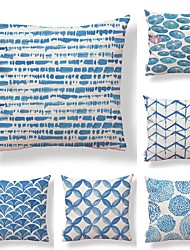 cheap -6 pcs Textile / Cotton / Linen Pillow case, Simple / Graphic Prints / Printing Modern Style / Square Shaped