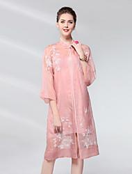 cheap -Proverb Women's Silk Sheath Dress - Solid Colored Crew Neck