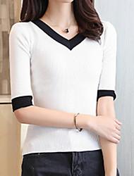 baratos -Mulheres Camiseta Sólido / Estampa Colorida Algodão Decote V