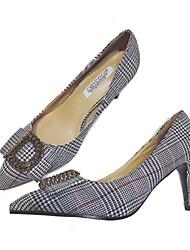 Недорогие -Жен. Обувь Полотно Весна Туфли лодочки Обувь на каблуках На шпильке Заостренный носок Стразы для на открытом воздухе Красный / Синий