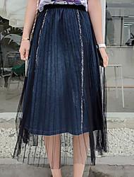 povoljno -Žene Ljuljačka Aktivan Suknje - Jednobojni Blue & White