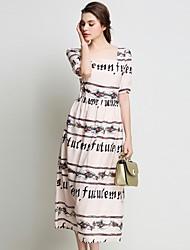 baratos -Mulheres Vintage Reto Vestido - Renda / Franjas / Estampado, Listrado / Floral / Geométrica Médio