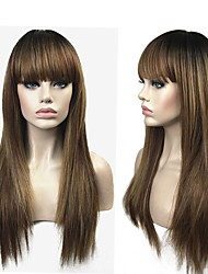 cheap -Synthetic Wig Straight Ombre Layered Haircut Synthetic Hair 100% kanekalon hair Ombre Wig Women's Long Capless