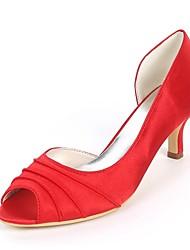 cheap -Women's Shoes Satin Spring & Summer Basic Pump Wedding Shoes Kitten Heel Peep Toe Side-Draped Royal Blue / Champagne / Ivory