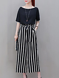 cheap -Women's Plus Size Going out Street chic / Sophisticated Loose Set - Solid Colored / Striped, Bow High Waist Pant Choker / Summer / Fine Stripe