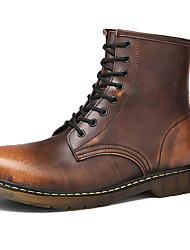 Недорогие -Жен. Армейские ботинки Кожа Зима Классика / На каждый день Ботинки На плоской подошве Сапоги до середины икры Черный / Коричневый / Винный