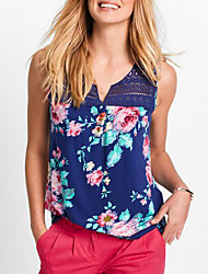 cheap -Women's Tank Top - Solid Colored / Floral V Neck