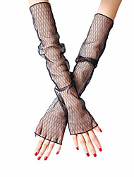 cheap -Women's Cute / Party Fingerless Gloves - Striped Lace
