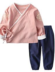 Недорогие -Дети Мальчики Геометрический принт Длинный рукав Набор одежды