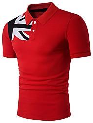 Недорогие -Муж. Polo Хлопок / Лён, Рубашечный воротник Активный / Классический Однотонный / С короткими рукавами