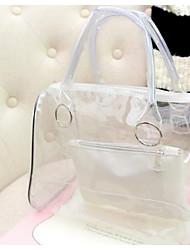 baratos -Mulheres Bolsas PVC Conjuntos de saco 2 Pcs Purse Set Botões Vermelho / Roxo / Amarelo