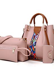 baratos -Mulheres Bolsas PU Leather Conjuntos de saco Conjunto de bolsa de 4 pcs Estampa para Compras Rosa / Cinzento / Marron