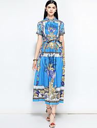 abordables -Mujer Vintage / Chic de Calle Corte Swing Vestido - Estampado, Floral Midi