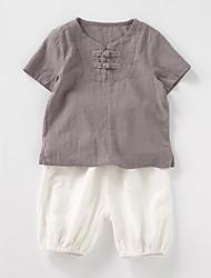 Недорогие -Дети Дети (1-4 лет) Мальчики Однотонный С короткими рукавами Набор одежды